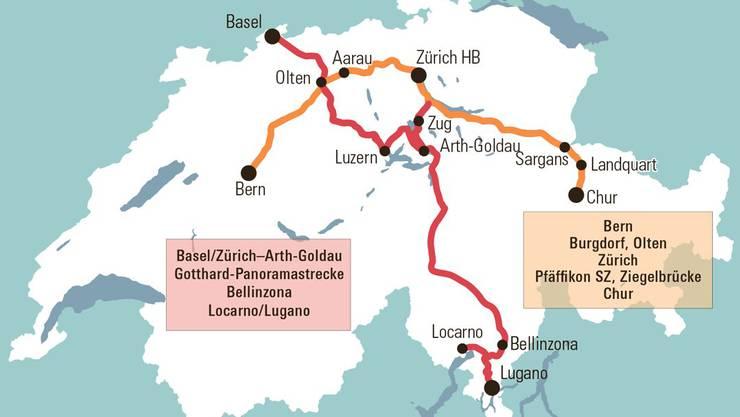 NZZ-Grafik: Aarau ist zwar eingezeichnet, der Zug hält dort allerdings nicht.