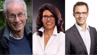Stadtammann Kandidaten Brugg (v.r.n.l. Richard Fischer Parteilos, Barbara Horlacher Grüne, Titus Meier FDP)