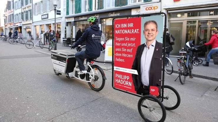 Nur eine Fotomontage: Aber mit ihr hat SP-Nationalrat Philipp Hadorn dem Velolieferdienst Collectors einigen Ärger eingebrockt.