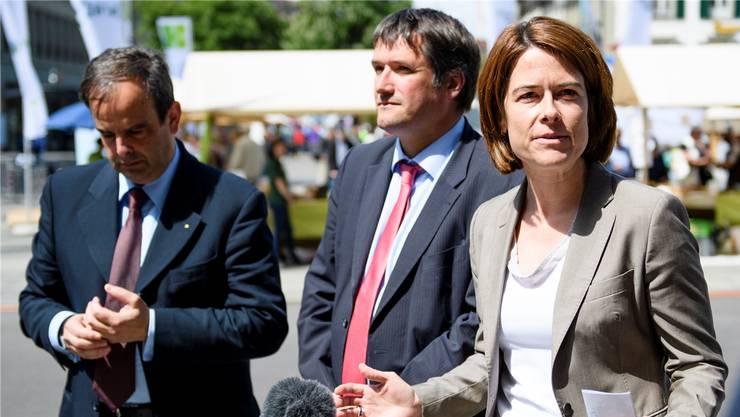 Ohne Sukkurs der Präsidenten Gerhard Pfister (CVP), Christian Levrat (SP) und Petra Gössi (FDP, v.l.) hat das Rahmenabkommen keine Chance.