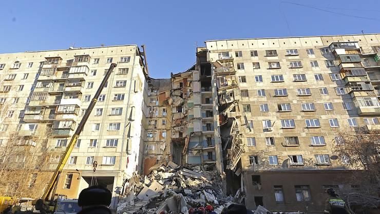 Der Wohnblock in der Industriestadt Magnitogorsk, in dem sich die Explosion ereignete.