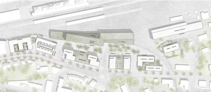 Als Bahnhofsplatz wird der Raum zwischen der neuen RBS-Halle samt Überbauung mit Wohnungen und dem Espace-Gebäude definiert.