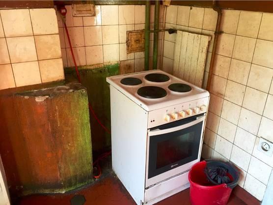 Auch in der Küche sieht es nicht besser aus: Allgenbefallende Wände, Jahre alte Leitungen, Dreck