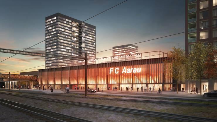 80 Parkplätze weniger oder doch nicht? Es wird hart gerungen um die Überbauung Torfeld Süd mit dem Stadion und den vier Hochhäusern.