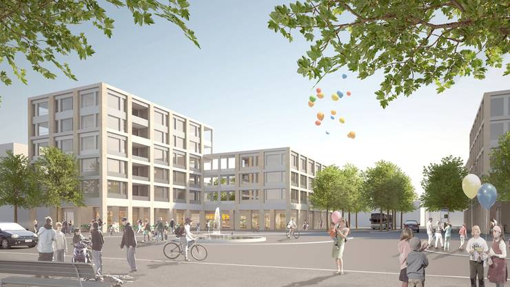 So wird das neue Geroldswiler Zentrum voraussichtlich ab 2020 aussehen.