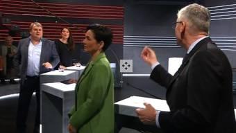 «Haben Sie wirklich Angst, dass das Wienerli ausstirbt?»: Mike Müller (links) vs. Andreas Glarner.