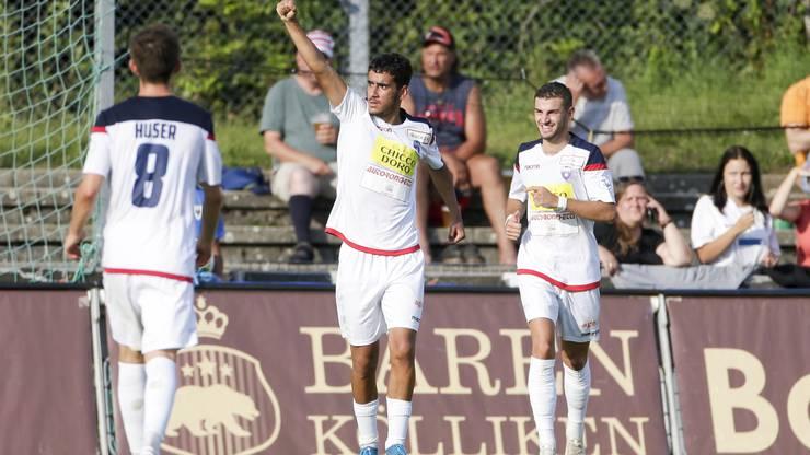 Sofian Bahloul verbucht seinen vierten Treffer gegen den FC Aarau in dieser Saison.