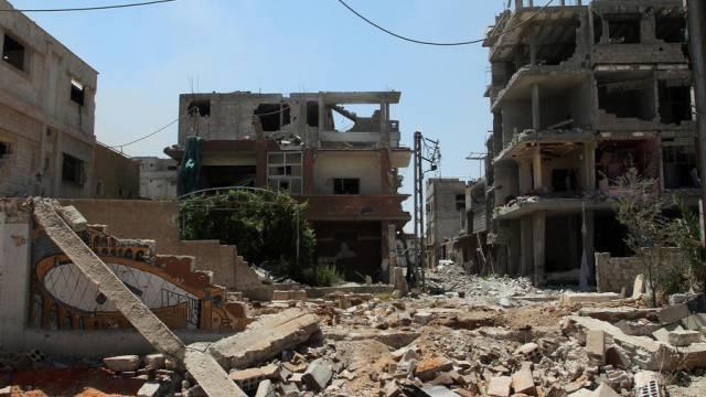 Zerstörung in einem südöstlichen Vorort von Damaskus