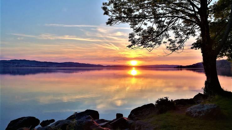 Wunderbar farbiger Sonnenuntergang beim Sempachersee.