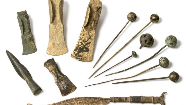 Verschiedene Bronzeobjekte aus der Fundstelle Thun, Schadau.