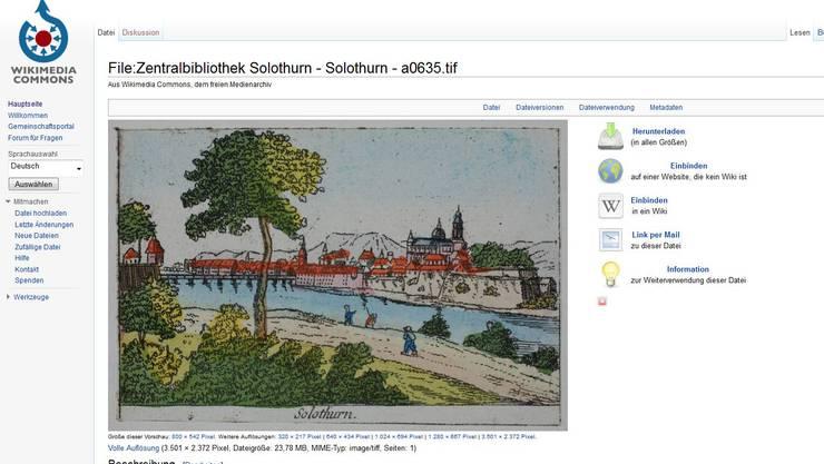Eine Druckgrafik der Zentralbibliothek Solothurn auf Wikimedia Commons.