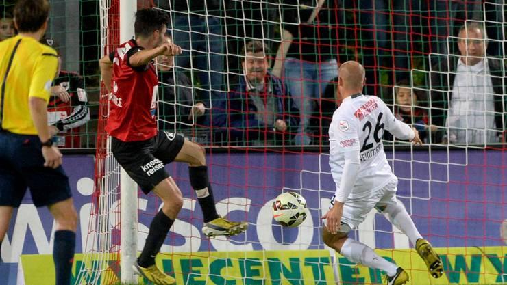 Luca Radice bei seinem Treffer zum 1:0 für den FCA gegen Thun