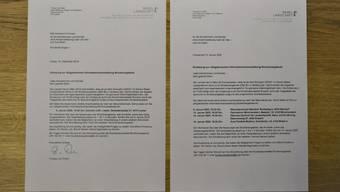 Links das Original, rechts die «Fälschung»: Als die Schulleitung merkte, dass die Einladung zum obligatorischen Anlass vergessen ging, setzte sie den Originalbrief kurzerhand nochmals auf. Vom eigenen Verschulden aber kein Wort.