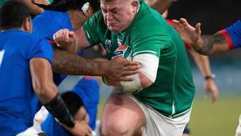 Dynamisch in die Viertelfinals: Tadhg Furlong auf dem Weg zu einem von sieben Tries für Irland im letzten Gruppenspiel gegen Samoa