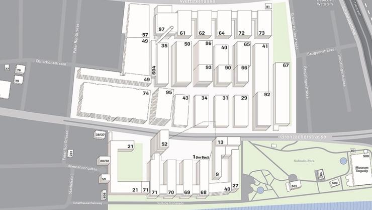 Übersicht Roche Kleinbasel: Der neue Produktionsbau ersetzt den Bau 40, Bildmitte. Auf das Areal Mitte/unten (1) wird derzeit der Roche-Turm gebaut (Fertigstellung 2015).
