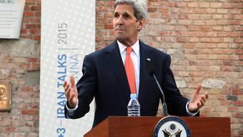 US-Aussenminister John Kerry wendet sich in Wien an die Medien, bevor er zu den Atomverhandlungen mit dem Iran zurückkehrt.