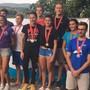 Die Siegerehrung der 4x1250m-Staffel.