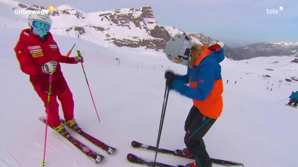 beim Telemark Skifahren