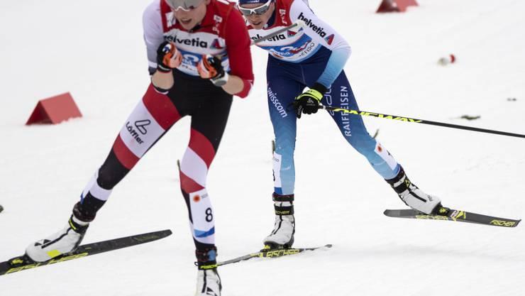 Nathalie von Siebenthal hier hinter der Österreicherin Teresa Stadlober an den Nordischen Weltmeisterschaften in Seefeld