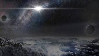 Künstlerische Darstellung der Rekord-Supernova, wie sie von einem etwa 10'000 Lichtjahre entfernten Exoplaneten in der Heimatgalaxie der Explosion ausgesehen haben könnte.