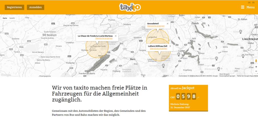 So sieht die Website von Taxito aus.
