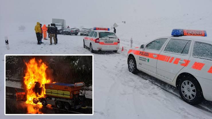 Der plötzliche Wintereinbruch forderten die Einsatzkräfte in vielen Teilen der Schweiz. In Rotkreuz geriet auch noch ein Schneepflug in Brand.