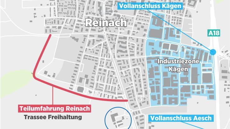Die geplante Teilumfahrung Reinach (rote Linie).
