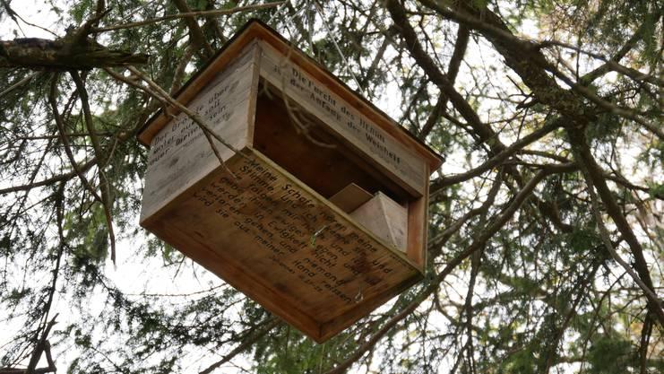 Diesen Holzkasten mit Bibelzitaten drin hat der Mitarbeiter des Kantons bei der zerkratzten Tafel auf der Belchenflue gefunden.