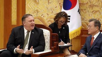 Nach einem kurzen Abstecher nach Nordkorea: US-Aussenminister Mike Pompeo spricht am Sonntag mit dem südkoreanischen Präsidenten Moon Jae In.
