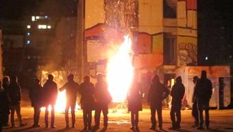 Aktivisten auf dem Labitzke-Areal feierten den Leermond vor Weihnachten.