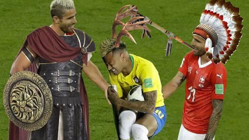 Neymar schmerzverzerrt am Boden, Behrami lachend über ihm. Ein gefundenes Fressen für kreative Bildmonteure.