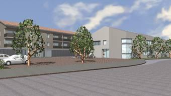 Geplantes Dorfzentrum Fischbach-Göslikon: In vier Jahren sollen das neue Gemeindehaus (rechts) und das Volg-Ladengebäude (links) mit den acht Alterswohnungen in den Obergeschossen verwirklicht sein. (Skizze 0t)