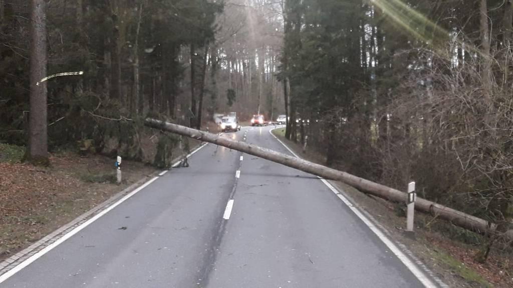 Gesperrte Strassen wegen Sturmschäden
