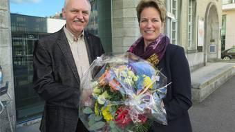 Toni Zaugg und Beatrice Baumgartner-Sterki; sie nahm für Gatte Raimund Baumgartner den Milestone entgegen.