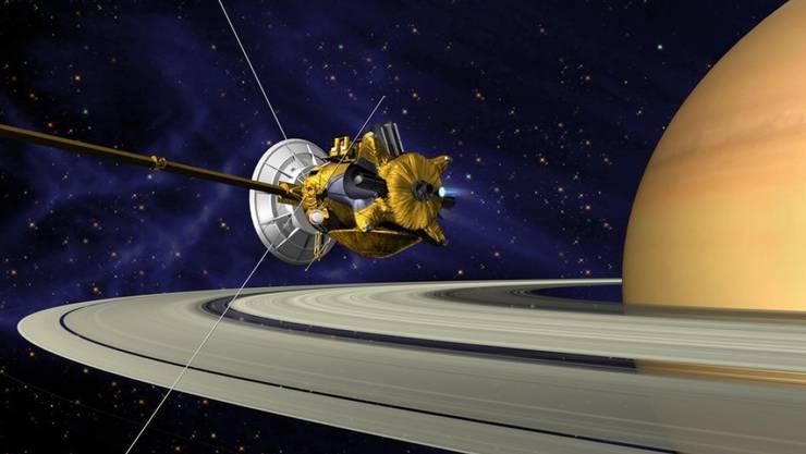 """NASA-Illustration der nun verglühten Raumsonde """"Cassini""""."""
