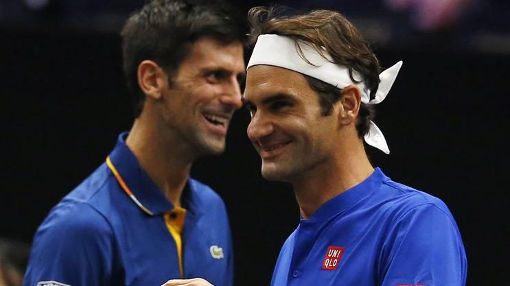 Guter Laune: Djokovic und Federer spielte im September 2018 im Team Europe. Am Sonntag sind sie Gegner.