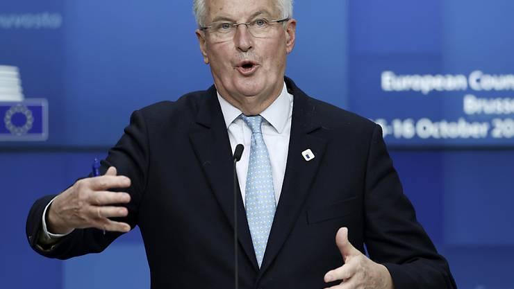 Michel Barnier, Chefunterhändler der Europäischen Union für den Brexit, spricht bei einer Pressekonferenz während des EU-Gipfels in Brüssel. Foto: Kenzo Tribouillard/AFP Pool/dpa