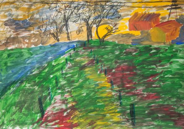 """Das Bild mit dem Titel """"Ende Herbst - der Weg"""" malte Denis Batinic Ende 2017. Es zeigt einen Weg, der sich zwischen kahlen Bäumen und Strommasten durchwindet."""