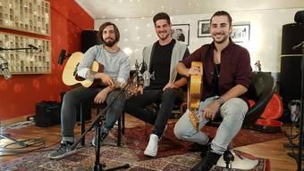 Raffaele Uccella, Mathias Sax und Kevin Schärer (v.l.) freuen sich auf die Plattentaufe ihrer ersten Akustik-CD.
