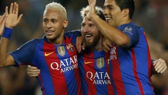 Neymar (1 Tor), Lionel Messi (3 Tore) und Luis Luis Suárez (2 Tore) waren die grossen Figuren beim 7:0-Kantersieg des FC Barcelona gegen Celtic Glasgow  (v.l.n.r)