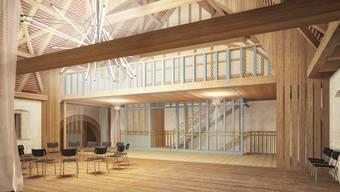 Das Kernelement im Obergeschoss: Der grosse Saal bietet Platz für 120 Gäste. (Visualisierung)