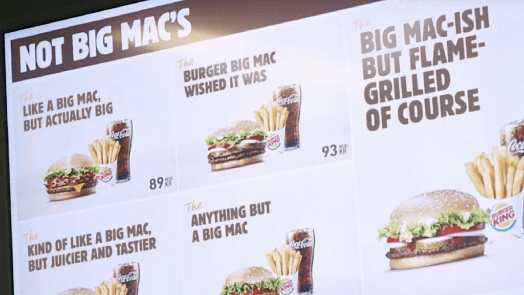 Diese Menükarte hängt in den Burger-King-Filialen in Schweden.