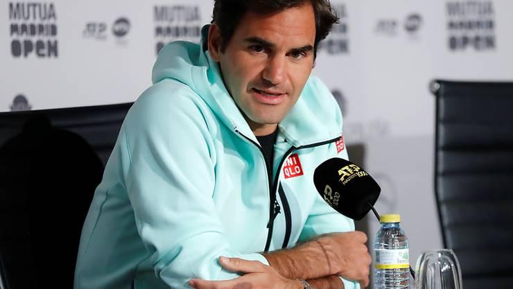 Roger Federer an der Pressekonferenz in Madrid