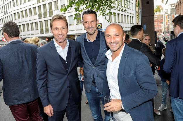FCB-Legenden unter sich: Adrian Knup, Marco Streller und Massimo Ceccaroni.