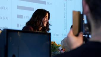 Tanja Soland bei der Verkündung der Regierungs-Ergebnisse Basel-Stadt. Sie liess ihre bürgerlichen Verfolgerinnen weit hinter sich.