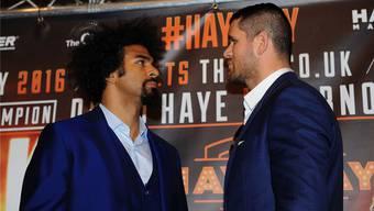 Diese zwei Herren werden sich am 21. Mai vor 20000 Zuschauern in London auf die Mütze geben: David Haye (links) und Arnold Gjergjaj. ZVG