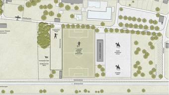 Die Visualisierung zeigt die zurzeit favorisierte Variante für die Sportplätze. Start- und Landepiste für die Modellflieger fallen allerdings sicher weg (links oben).