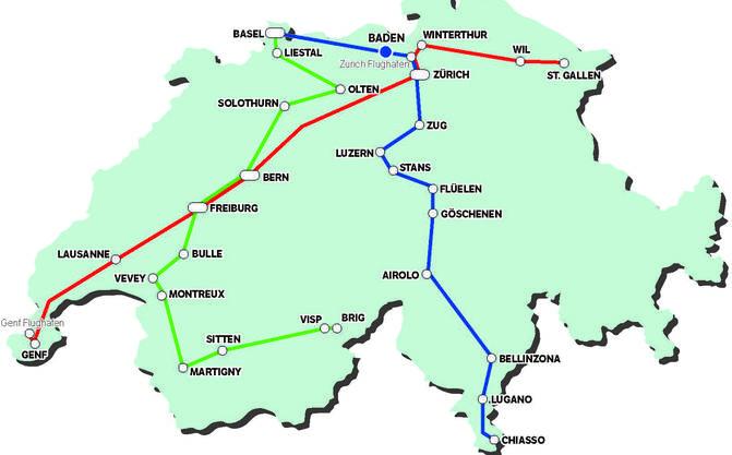 Fernbus-Netz von Domo Reisen in der Schweiz