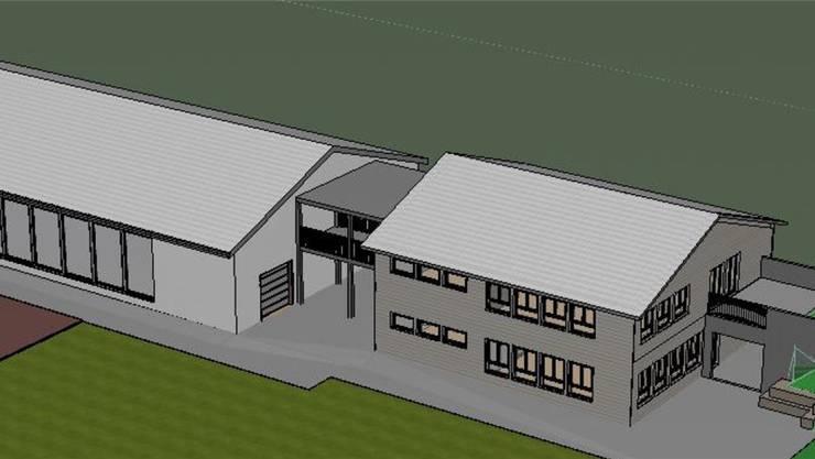 Der Neubau ist mit einer Passarelle mit der Turnhalle verbunden. ZVG