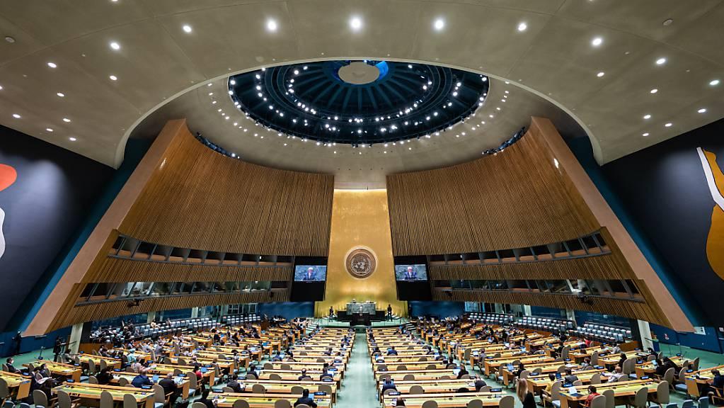 Bundespräsident Frank-Walter Steinmeier spricht in der 76. Generaldebatte der UN-Vollversammlung im Hauptquartier der Vereinten Nationen (UN). Foto: Bernd von Jutrczenka/dpa